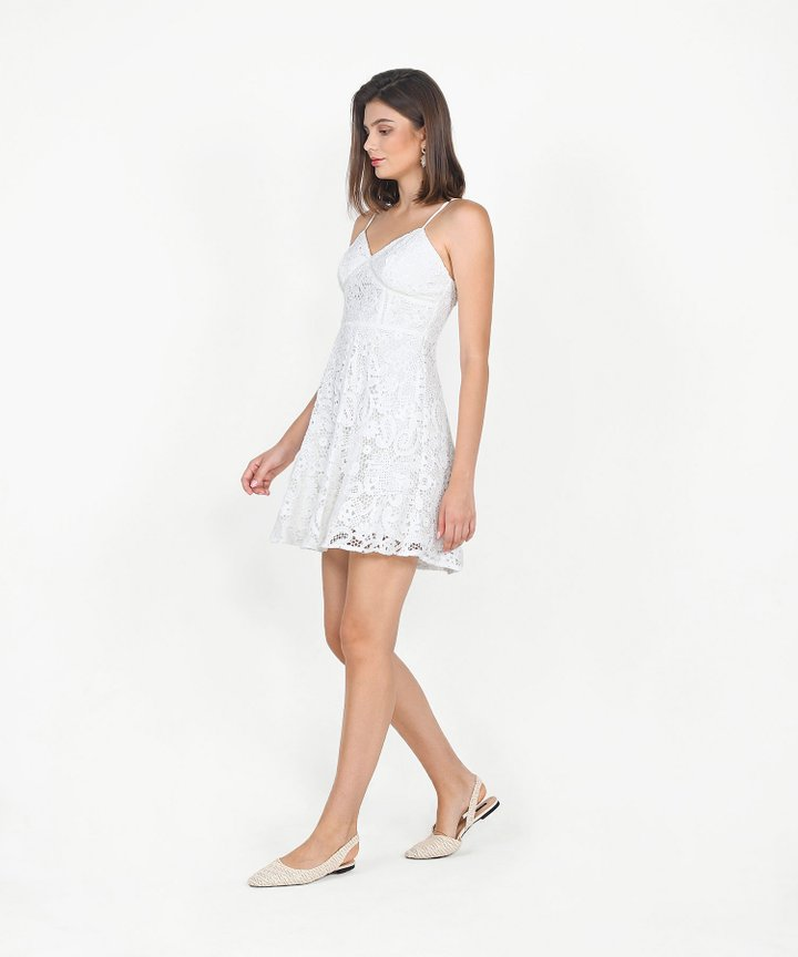 Edith Crochet Dress - White