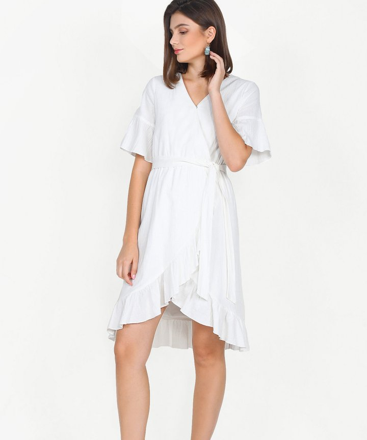 Gabriela Ruffle Overlay Dress - White