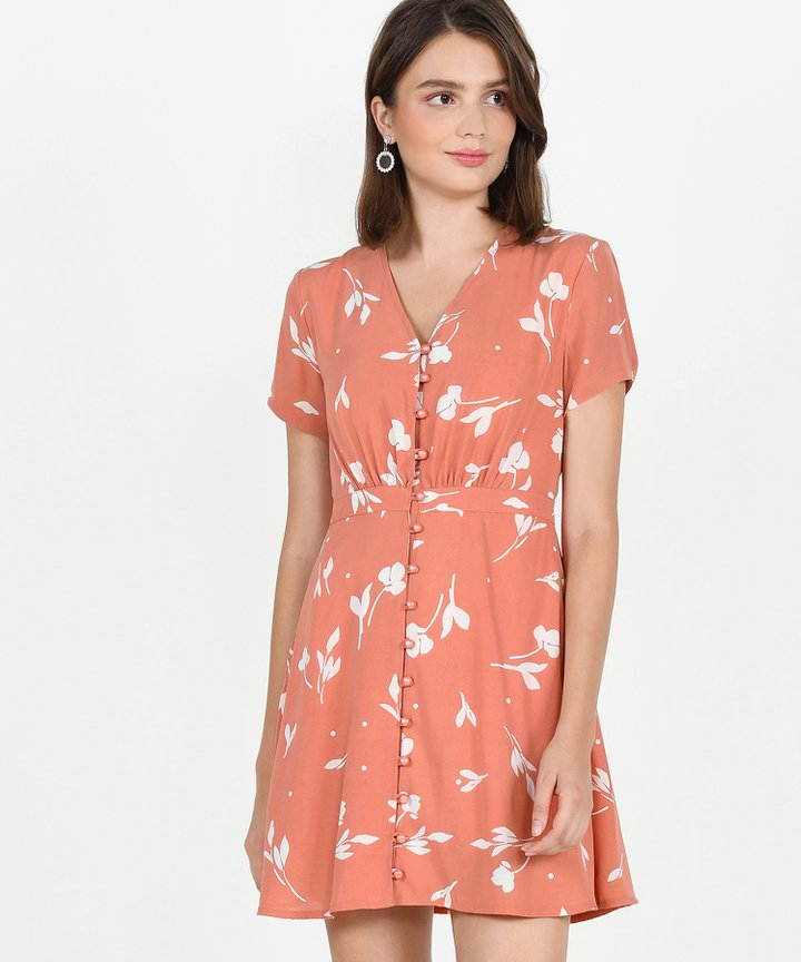 Pandora Printed Dress - Coral