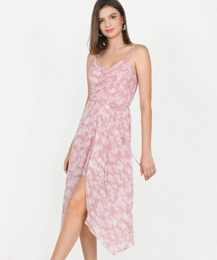 Bijou Printed Asymmetrical Midi - Pale Pink