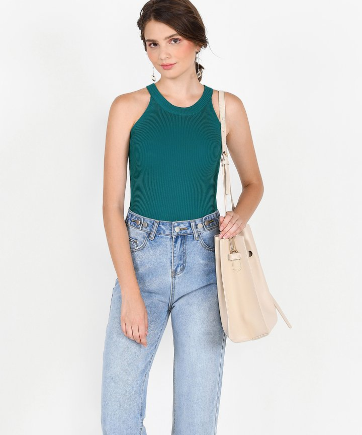 Steele Halter Knit Top - Emerald