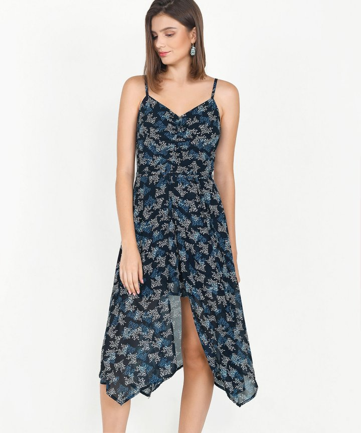 Bijou Printed Asymmetrical Midi - Midnight Blue