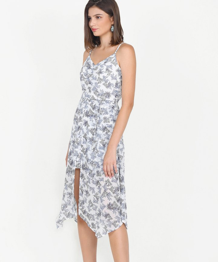 Bijou Printed Asymmetrical Midi Dress - White
