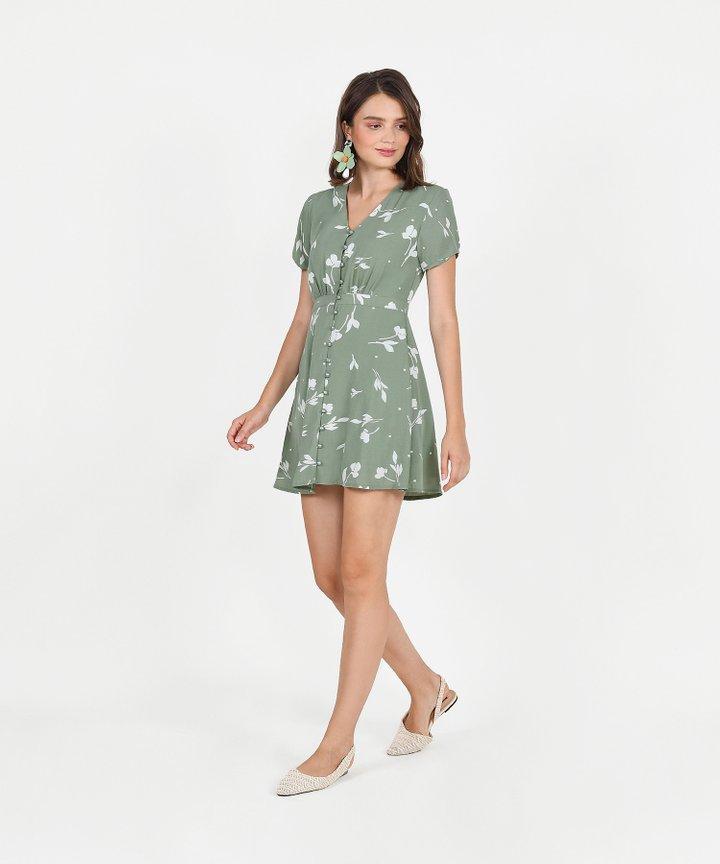 Pandora Printed Dress - Sage