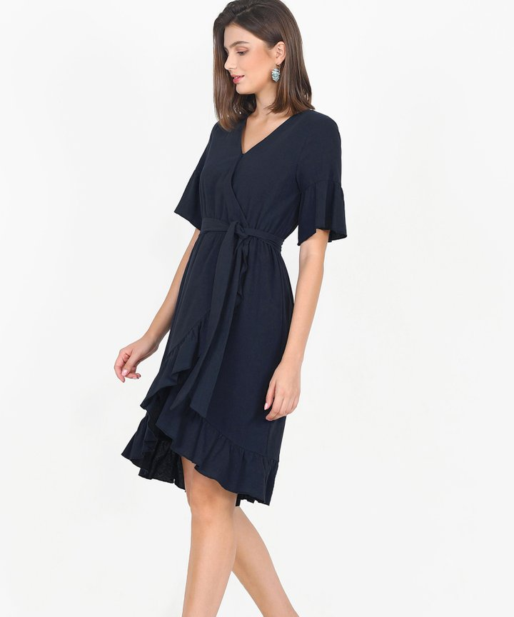 Gabriela Ruffle Overlay Dress - Midnight Blue