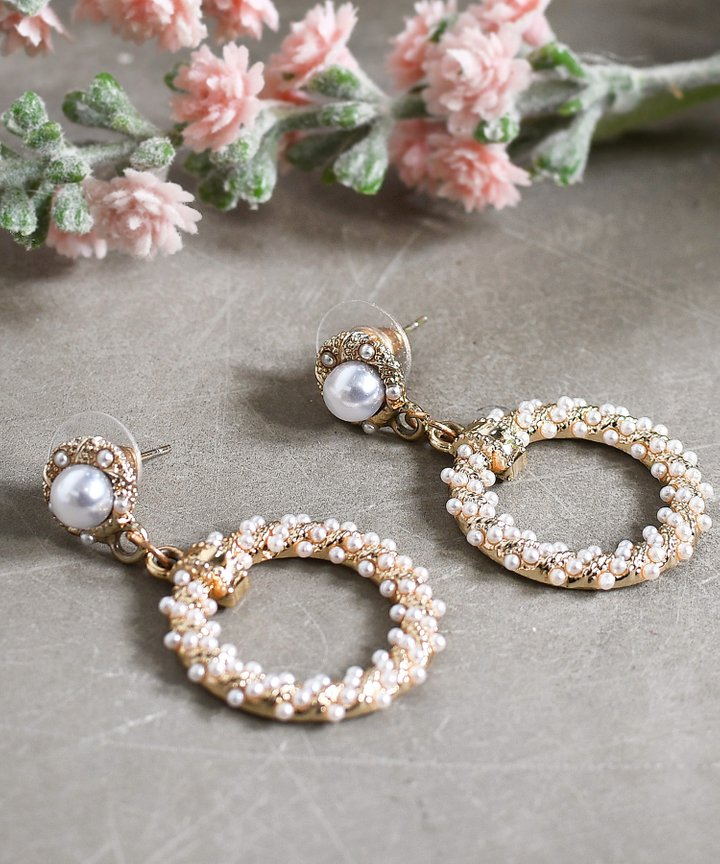 Mille Pearl Circle Earrings