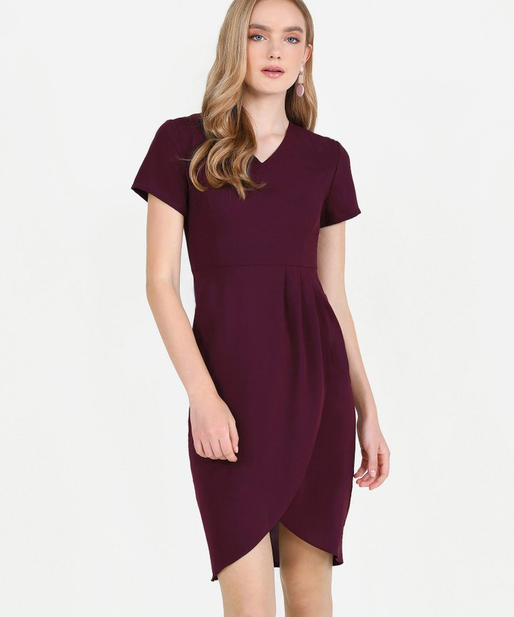 Chijmes Overlay Midi Dress - Maroon
