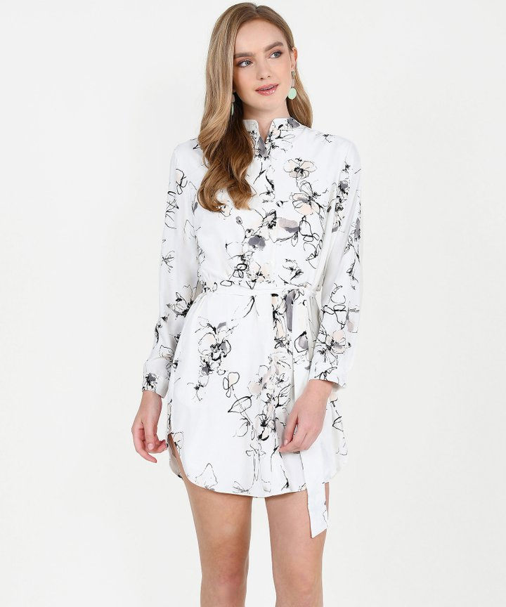 Clementine Floral Shirtdress - White