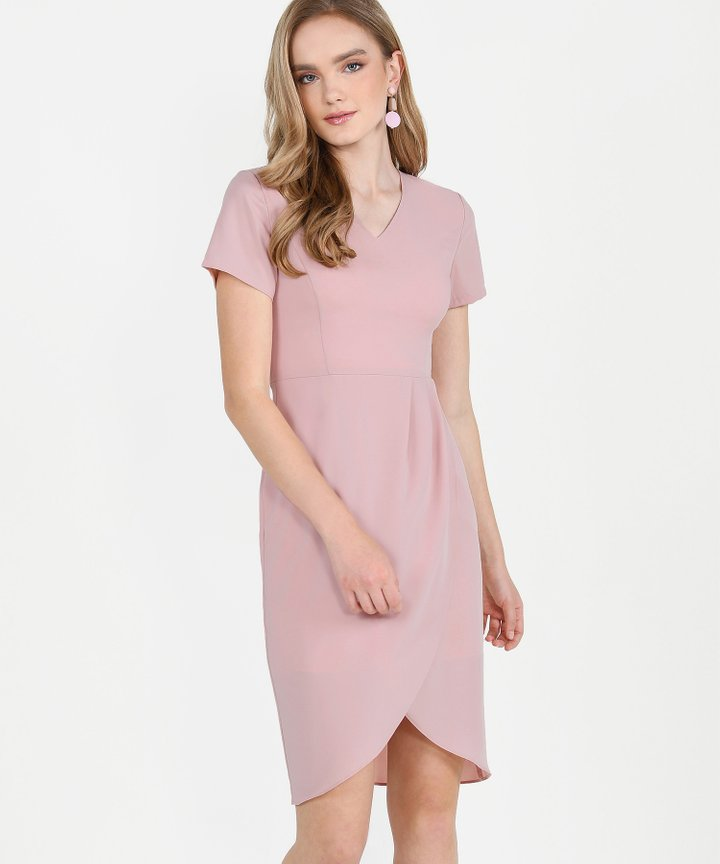 Chijmes Overlay Midi Dress - Blush Pink