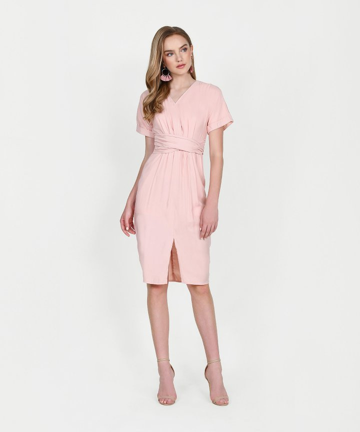 Sydney Belted Midi Dress - Blush