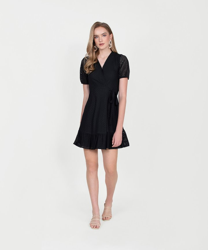 Francine Eyelet Overlay Dress - Black