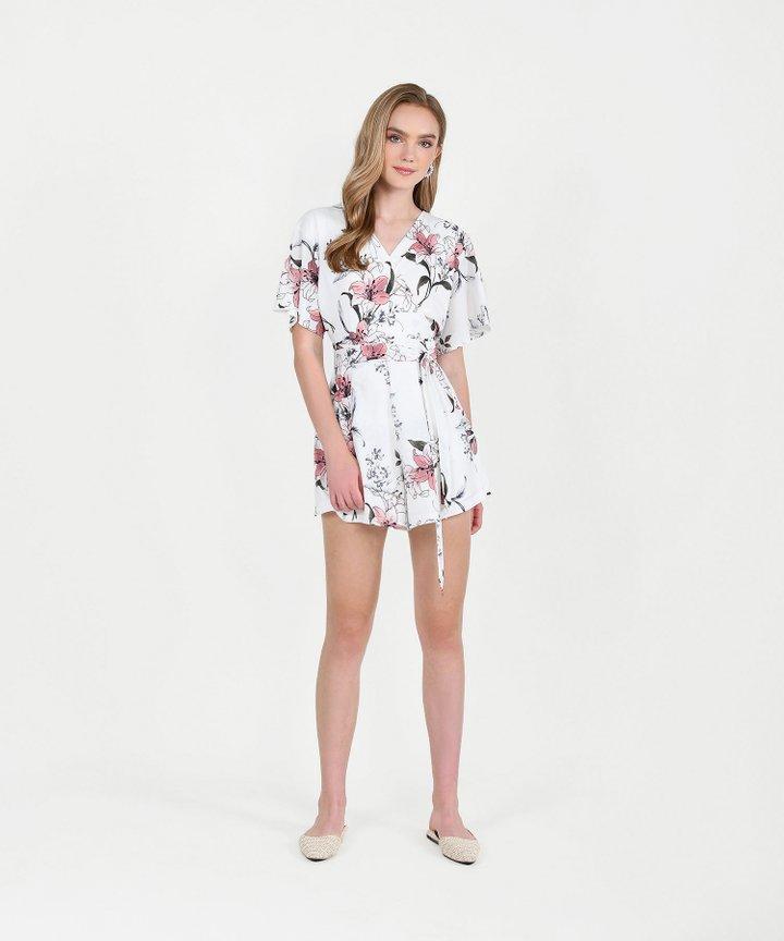 Imari Floral Kimono Playsuit - White