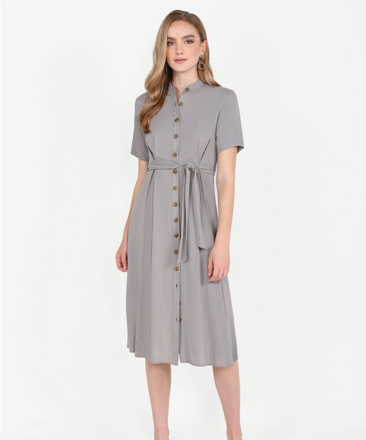 Andie Button-Down Shirtdress - Taupe Grey