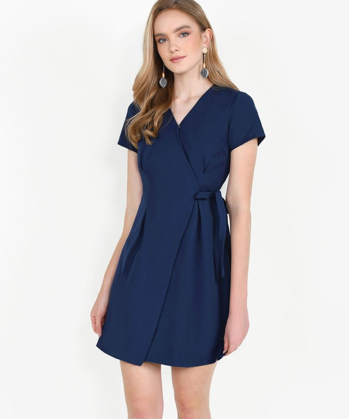 Saints Wrap Dress - Navy