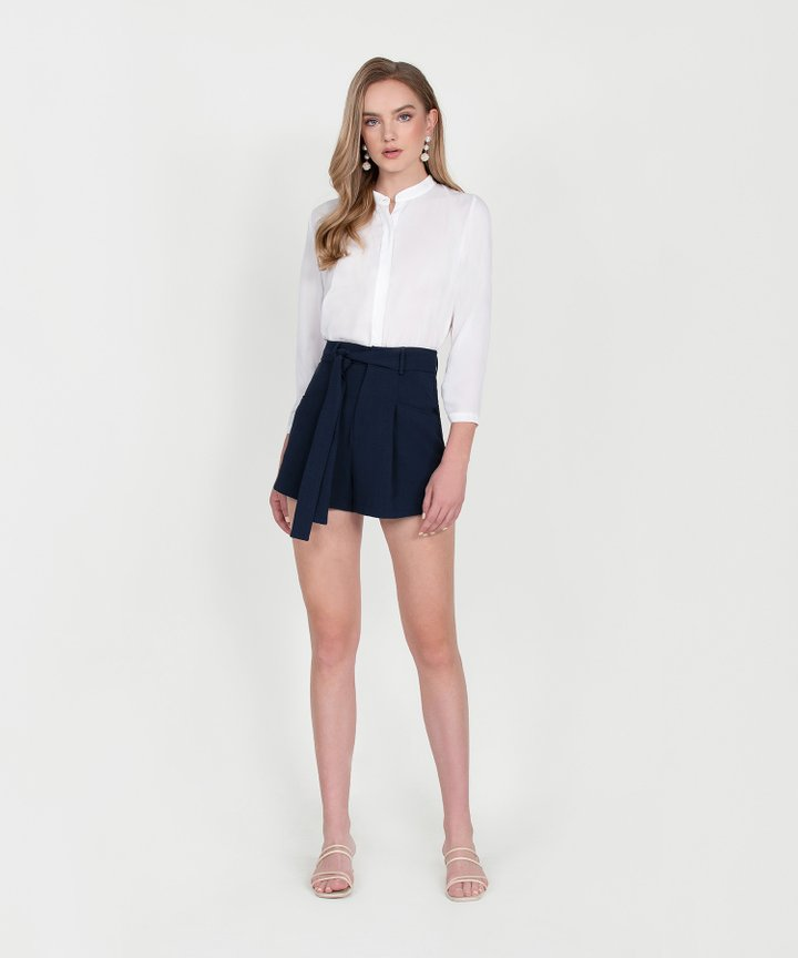 Axel Belted Shorts - Midnight Blue (Restock)