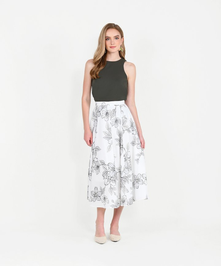 Vines Floral Midi Skirt - White