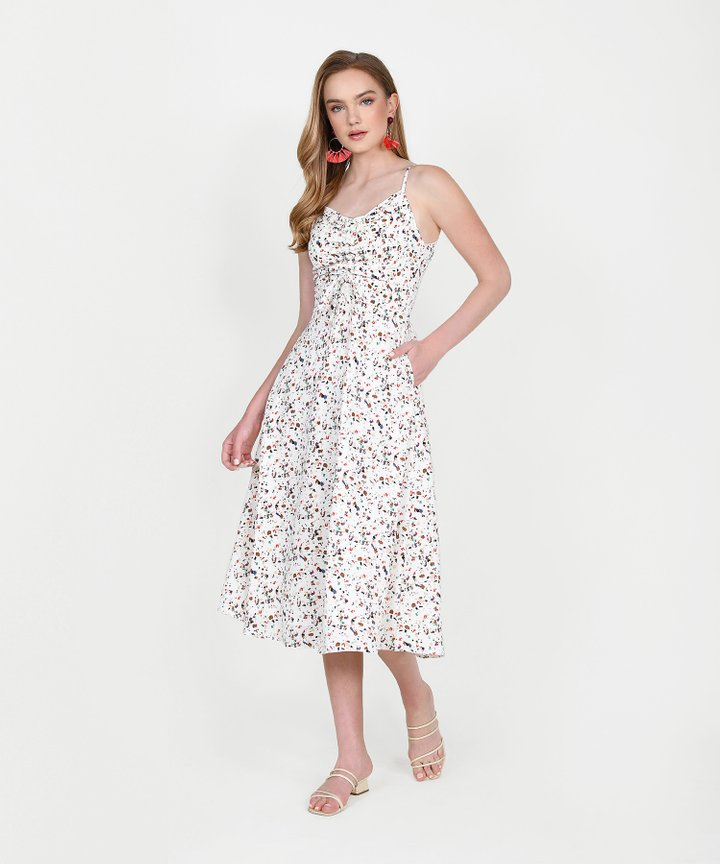 Hazel Printed Ruched Midi Dress - White
