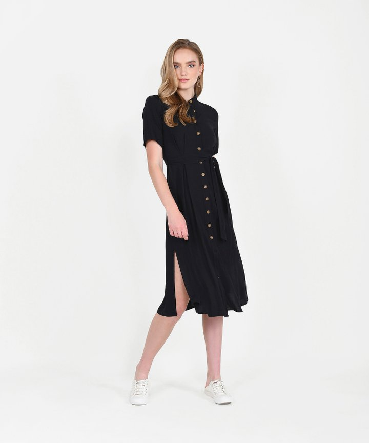 Andie Button-Down Shirtdress - Black