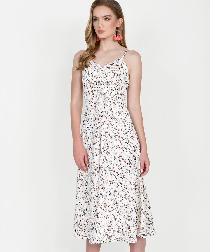 Hazel Printed Ruched Midi - White