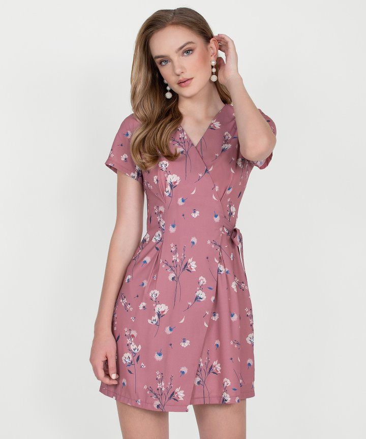 Blossom Floral Wrap Dress - Rose