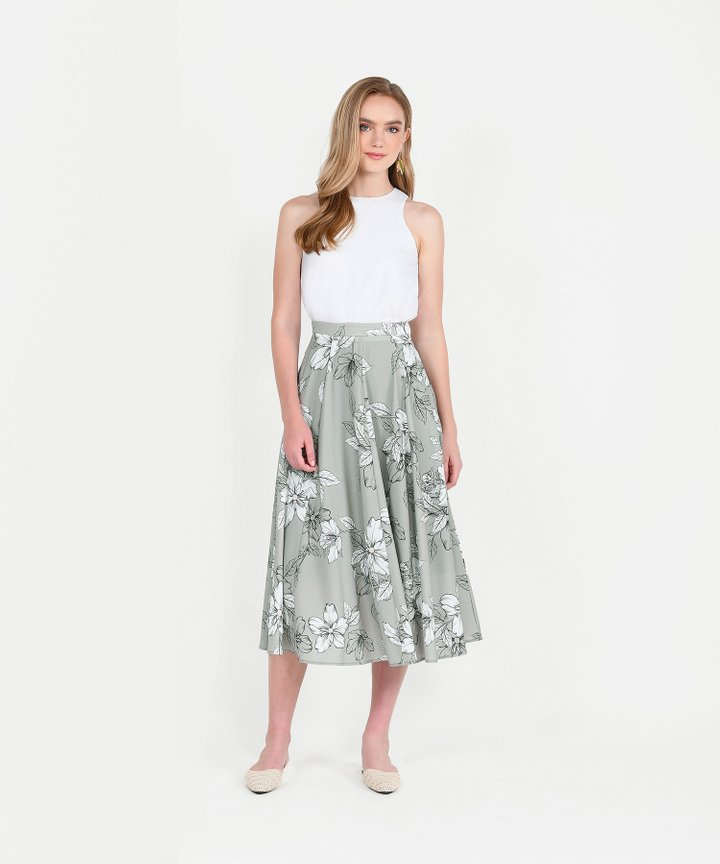 Vines Floral Midi Skirt - Pale Olive