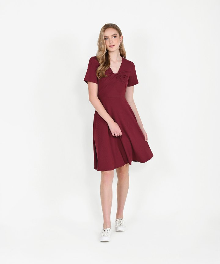 Lucia Knit Midi Dress - Wine