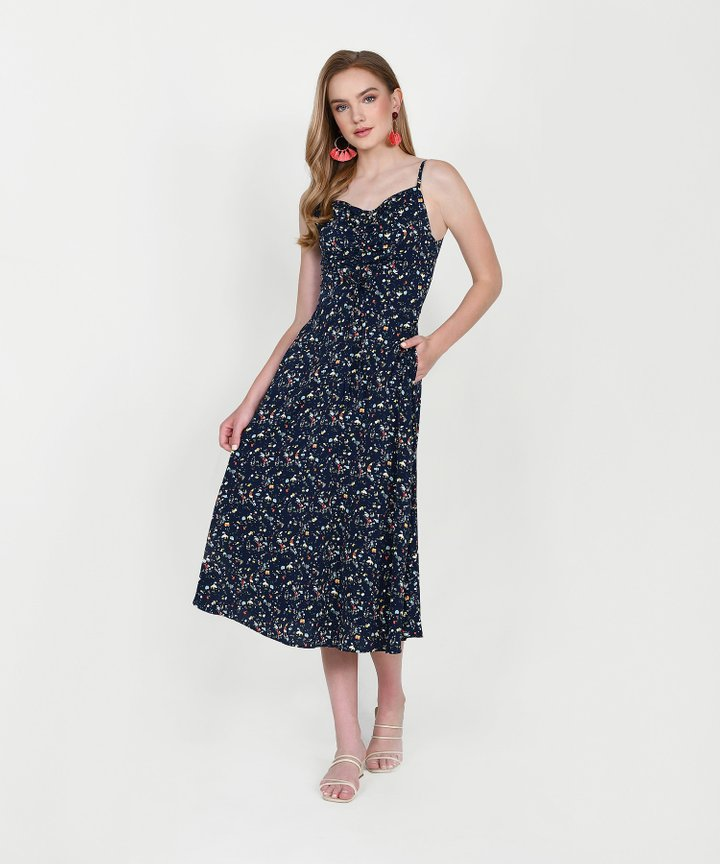 Hazel Printed Ruched Midi - Midnight Blue