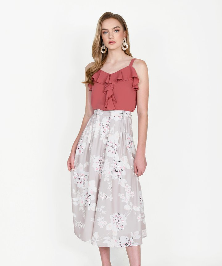 Cassis Floral Midi Skirt - Pale Sand