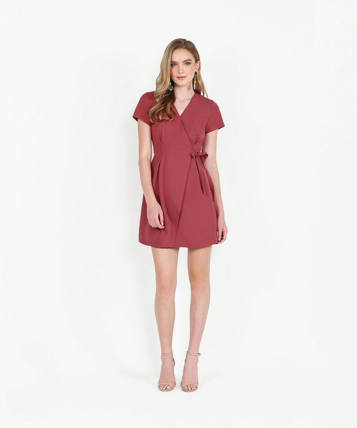 Saints Wrap Dress - Rose Red