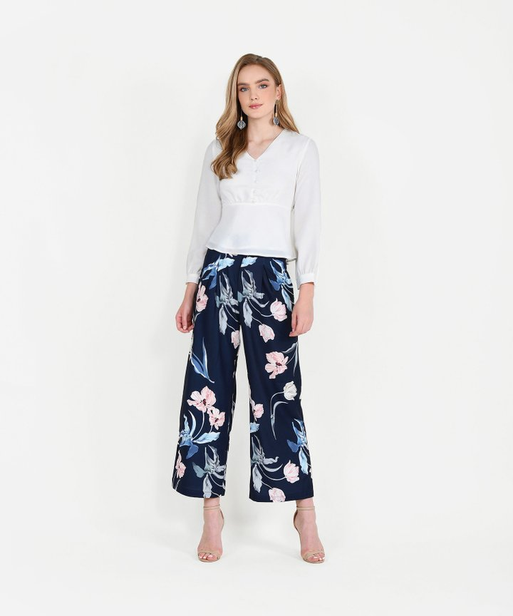 Bronwyn Floral Trousers - Navy