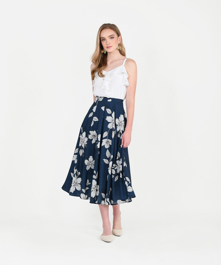 Vines Floral Midi Skirt - Navy