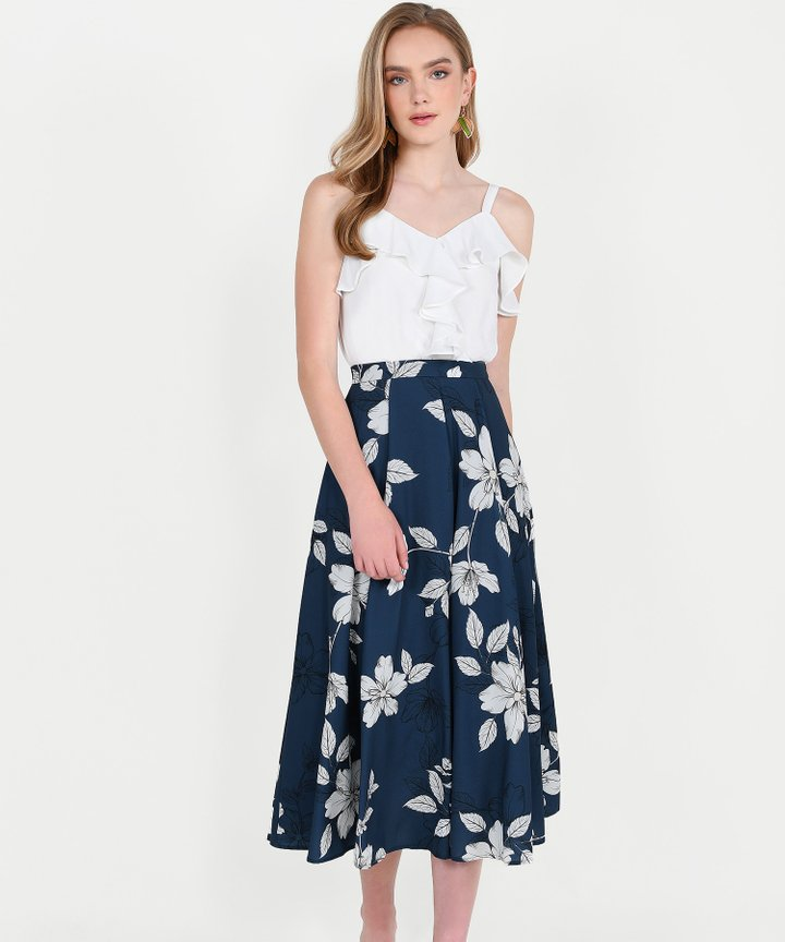 Vines Floral Midi Skirt - Navy