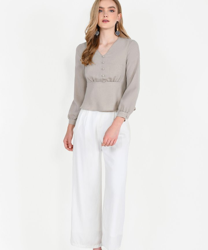Ellery Peplum Blouse - Pebble Grey