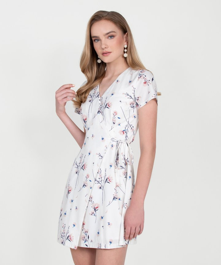 Blossom Floral Wrap Dress - White