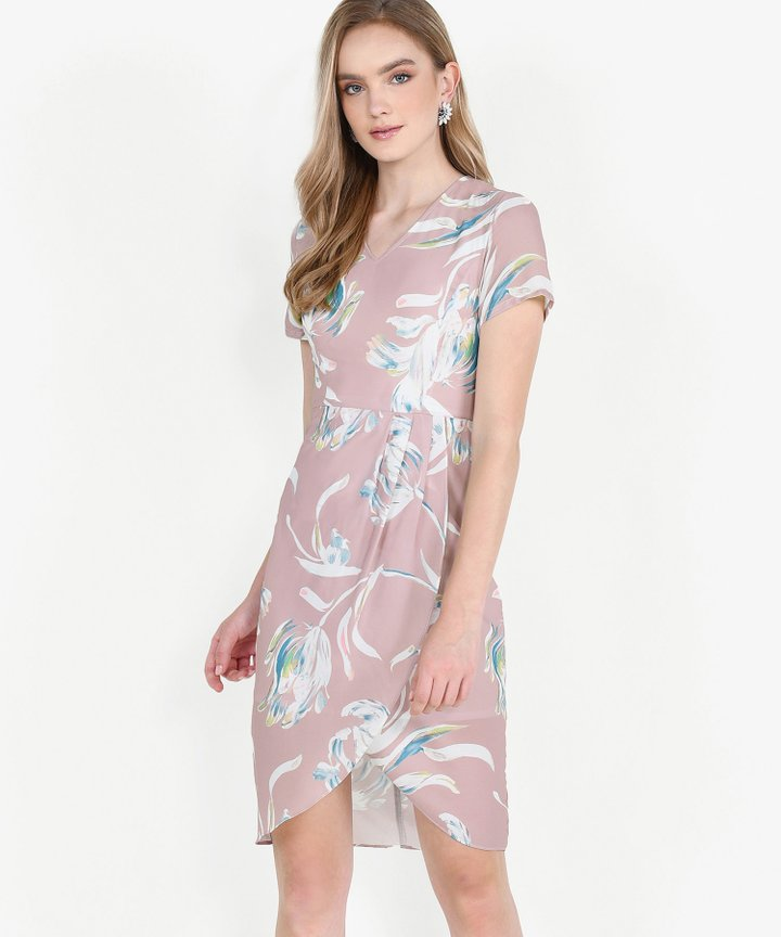 Chijmes Floral Overlay Midi Dress - Pink