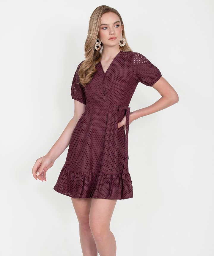 Francine Eyelet Overlay Dress - Burgundy
