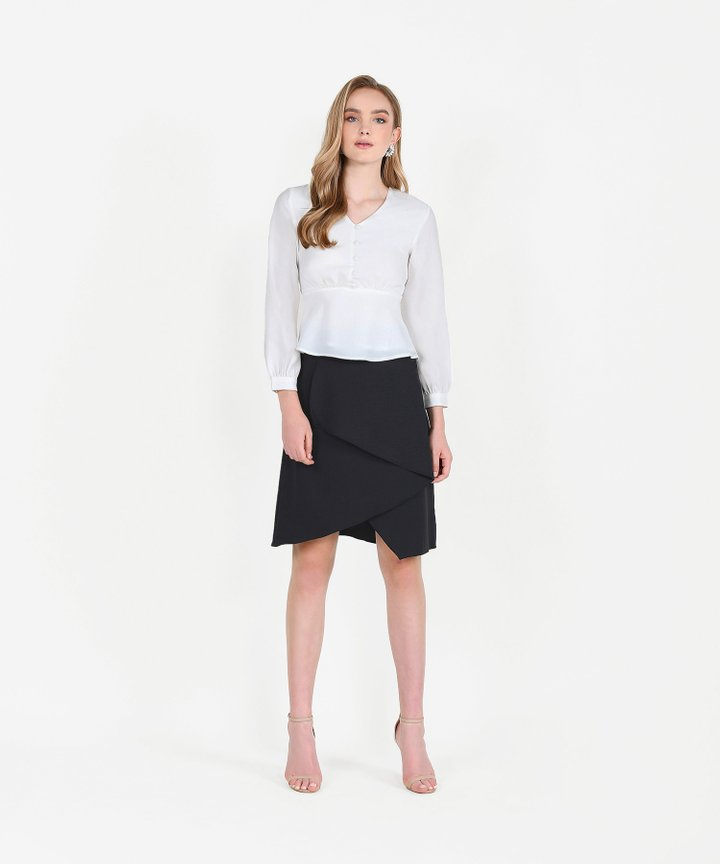 Dorset Asymmetrical Tiered Skirt - Black