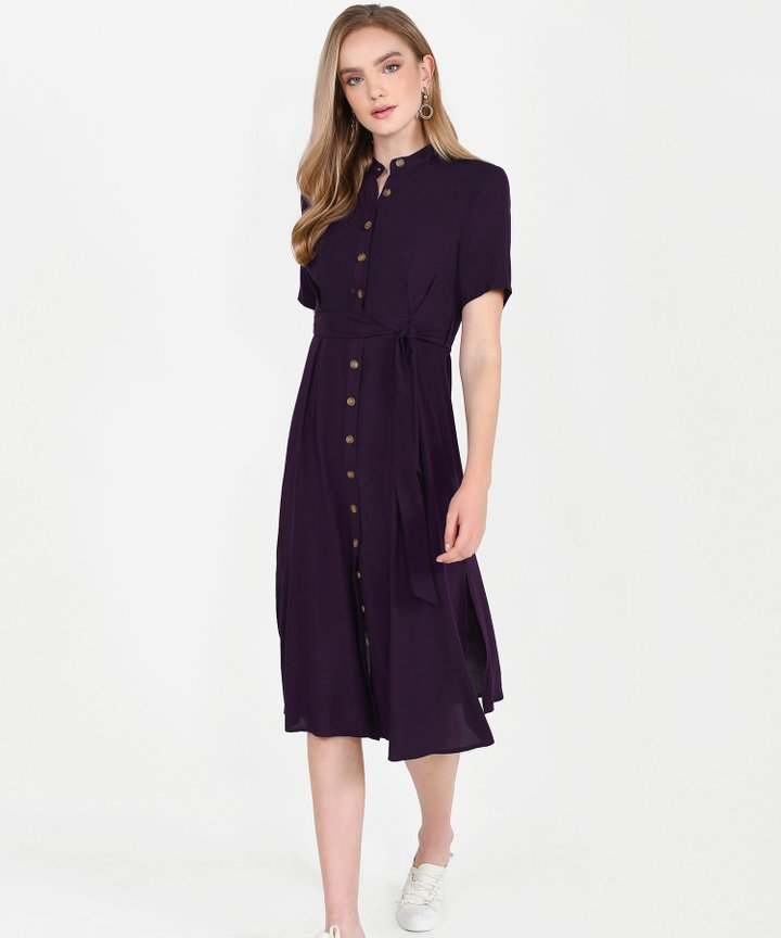 Andie Button-Down Shirtdress - Deep Plum