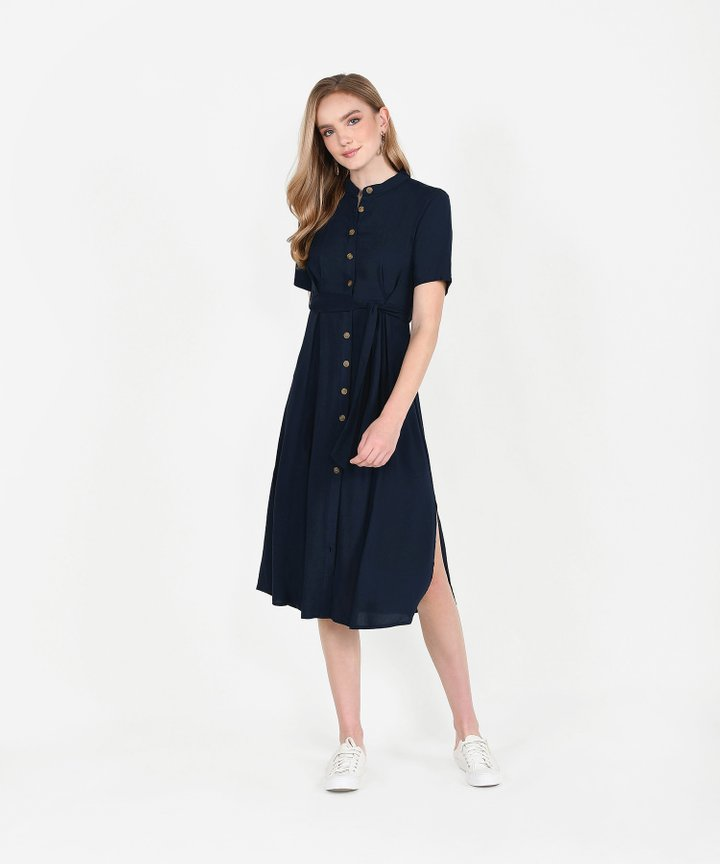 Andie Button-Down Shirtdress - Midnight Blue