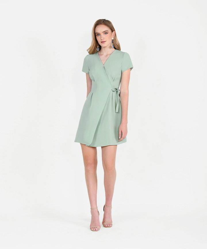 Saints Wrap Dress - Sage Green