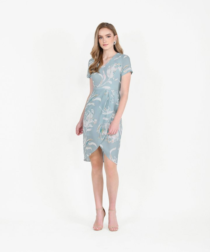 Chijmes Floral Overlay Midi Dress - Pale Blue