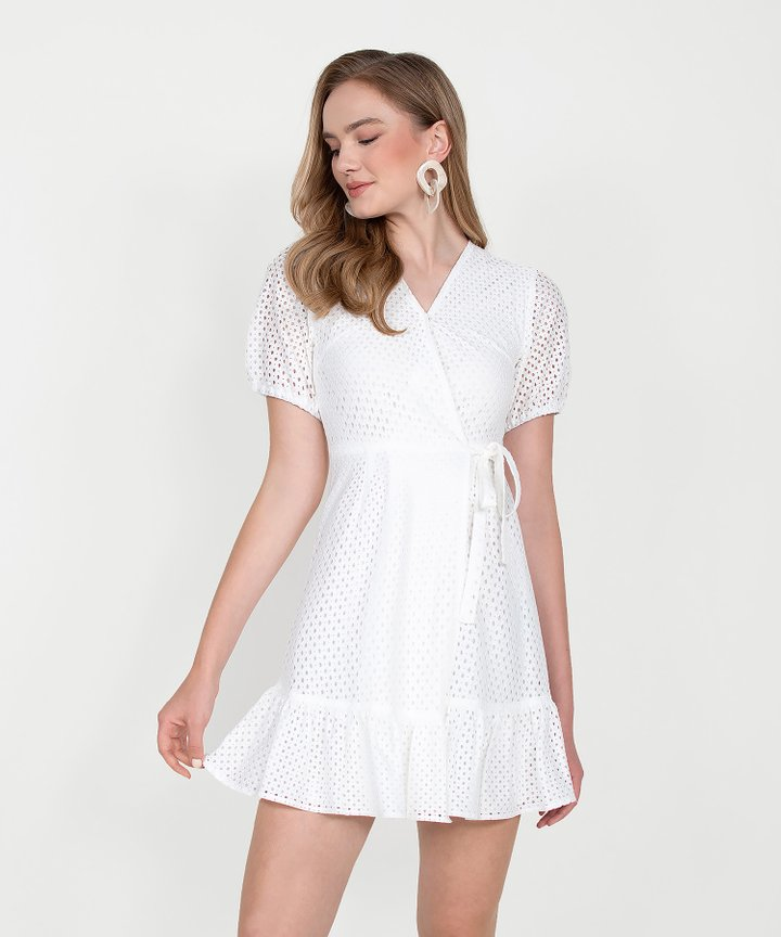 Francine Eyelet Overlay Dress - White