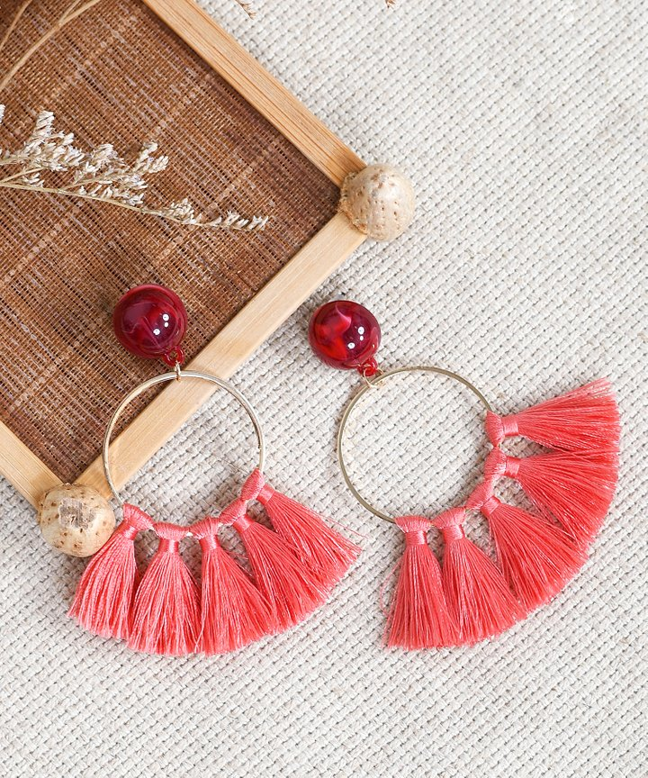 Innika Tassel Earrings - Coral