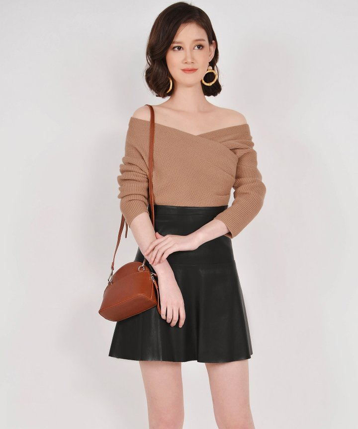 Eden Off-shoulder Knit Top - Tan (Restock)