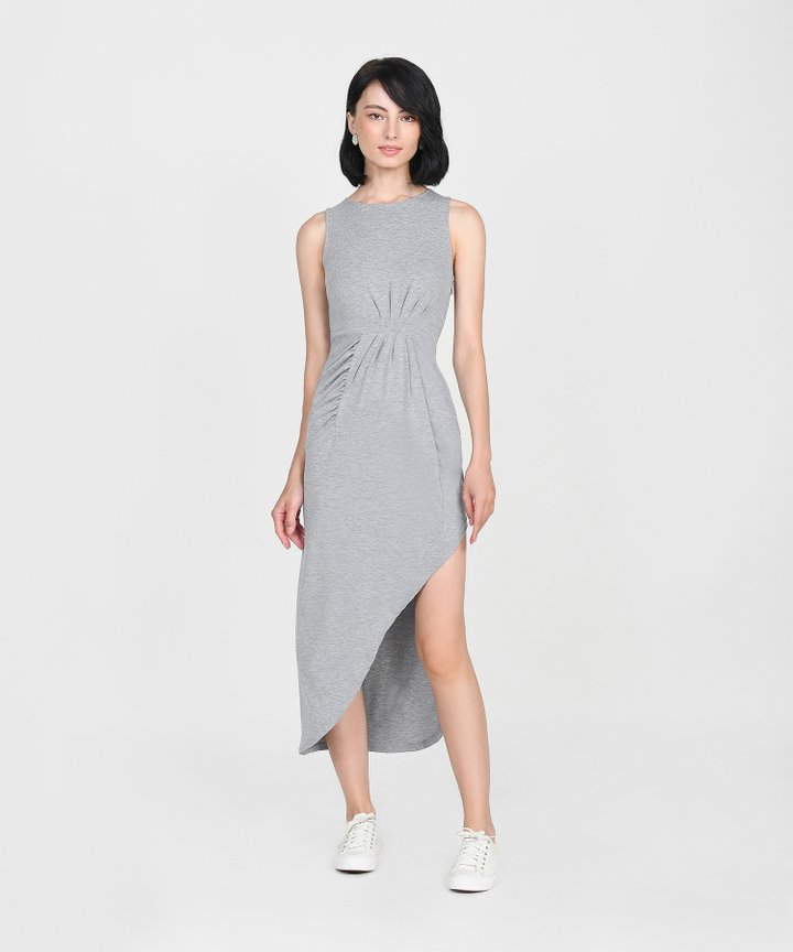 Empire Ruched Maxi - Heather Grey