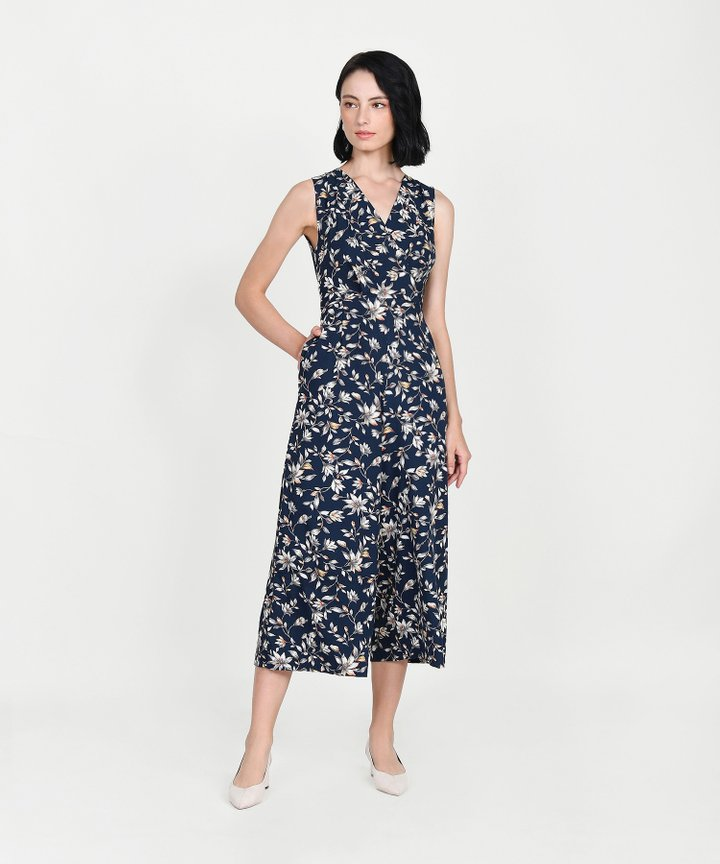 Athens Floral Wrap Jumpsuit - Midnight Blue