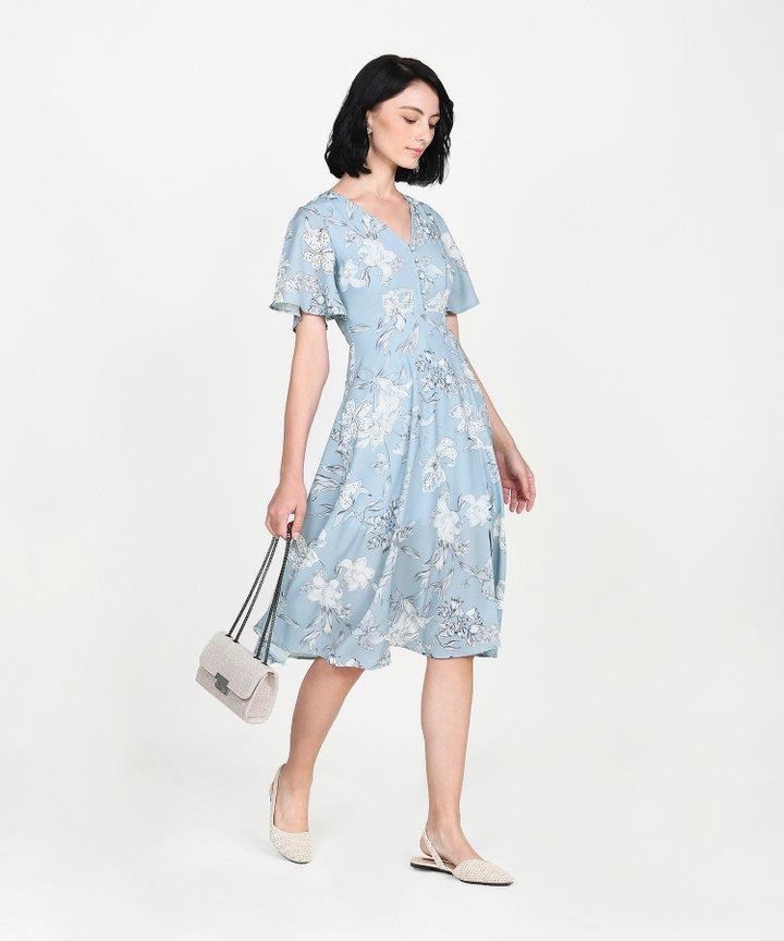 Antoinette Floral Midi - Pale Blue