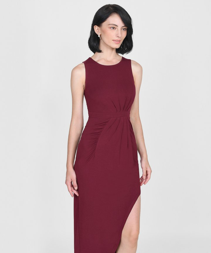 Empire Ruched Maxi - Maroon