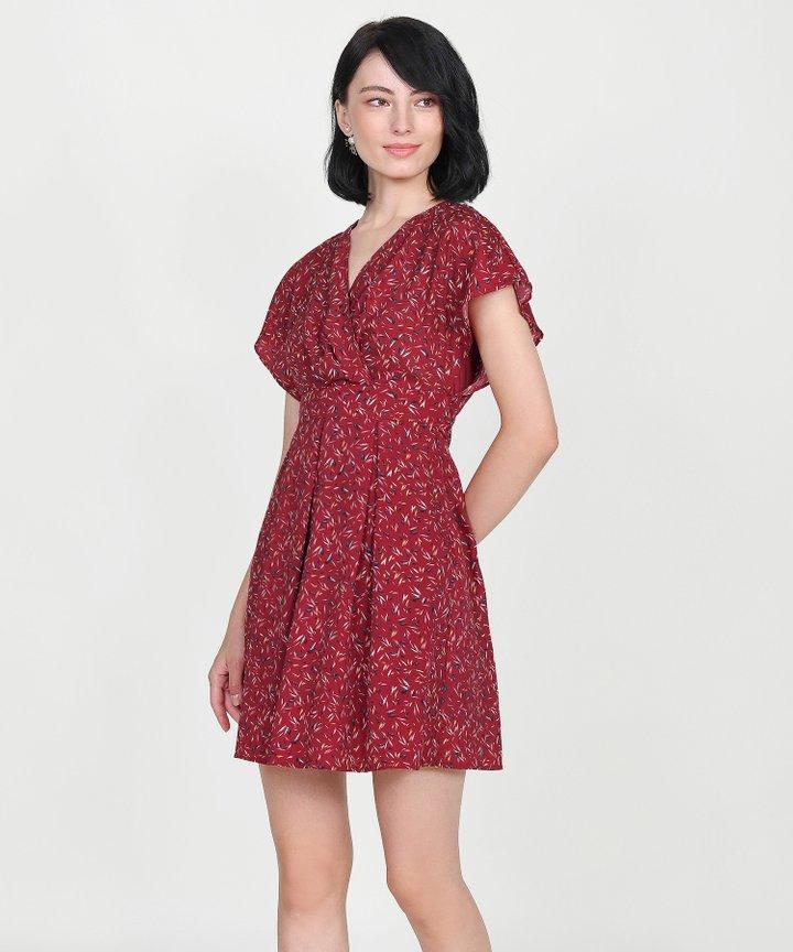 Ayame Printed Kimono Dress - Red