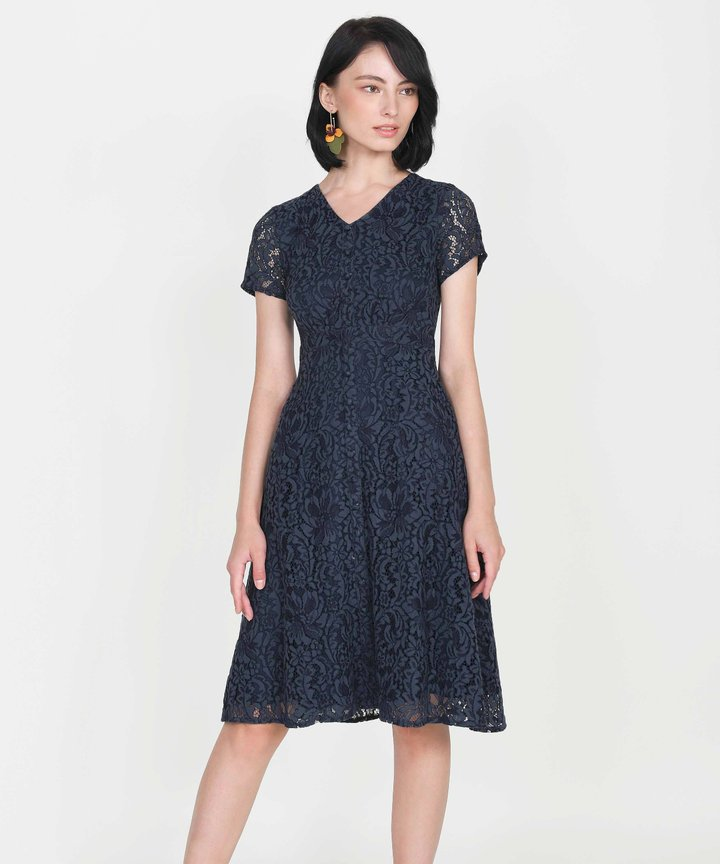 Silverlake Lace Midi Dress - Midnight Blue